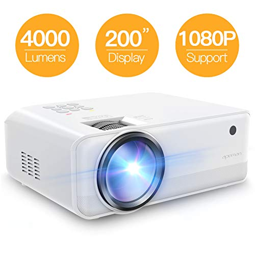 Projector APEMAN Mini Video Projector 4000 Lumen 1080p Supported LED Portable 50000 Hrs with Dual Built-in Speakers Support HDMI/TF/USB/RCA, Laptop/TV Stick/iOS/Android for Home Movie[2019 Model] (Best Cheap Mini Projector 2019)