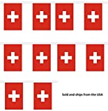 30' Switzerland String Flag Party Bunting Has 30 Swiss 6''x9'' Polyester Banner Flags Attached, Popular for School Classroom, Special Events, Bars, Restaurants, Country Theme Parties