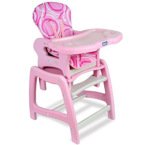 Plastic Durable Envee Baby High Chair/ Play Table in Pink