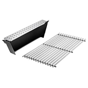 Weber 7563 Gas Grill Smoker Box and Stainless Steel Cooking Grate Insert Fits Genesis 300 Series Gas Grill