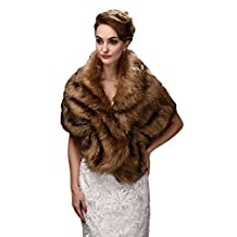 Oncefirst Faux Fur Shawl Wraps for Women's Evening Prom Party Bride Wedding Grey