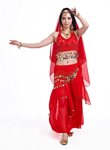 Dreamspell Womens red 5PCS dancing suit, indian style belly dance costumes (Red Belly Dancing Costume)