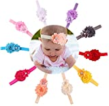 Qandsweet Baby Girl Headbands with Polygonal Flower Inlay Rhinestone for Photography (10 Pack)
