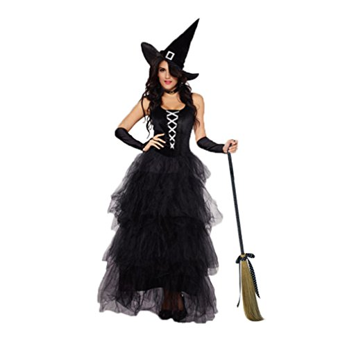 JJ-GOGO Witch Costume for Women - Halloween Adult Sexy Fancy Spellbound Witch Costume (XL/XXL) Black -