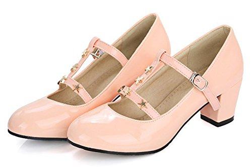 Aisun Donna Brunito Borchiato Punta Tonda Basso Taglio Elegante Fibbia Blocco Tacco Medio Cinturino Alla Caviglia Pompe Scarpe Rosa