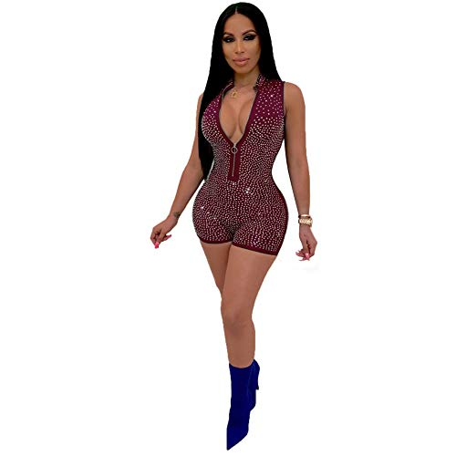 - Womens Sexy Rhinestone Sleeveless Zip Up Bodycon Rompers Shorts Jumpsuits Party Clubwear Red M