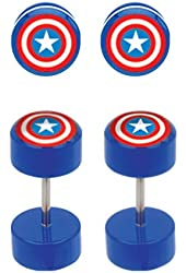 Blue Captain America's Shield Cheater Plugs Earrings - Pair