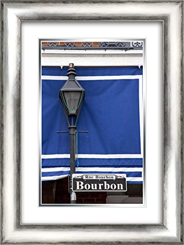 Louisiana, New Orleans Bourbon Street lamppost 17x24 Silver Contemporary Wood Framed and Double Matted Art Print by Kaveney, ()