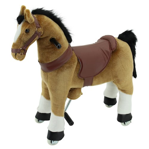 Sweety Toys 7356 Reittier Pferd braunIE auf Rollen für 3 bis 6 Jahre -RIDING ANIMAL