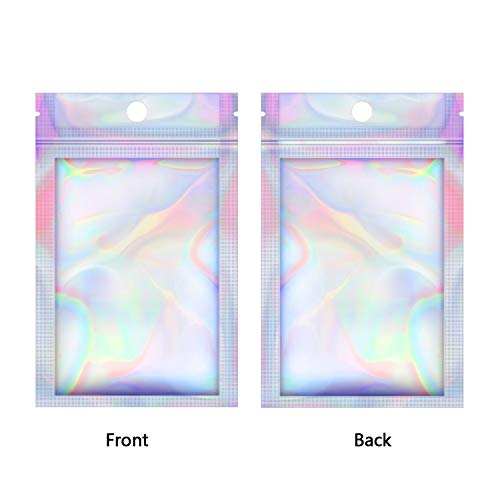 EAONE 200 Pcs Mylar Zip Lock Bags, Aluminum Foil Bags Double-Sided Metallic Packaging Bags Food Storage Smell Proof Bags Lip Gloss Resealable Bags (Holographic Rainbow Color 2.95 x 4.7 Inch)
