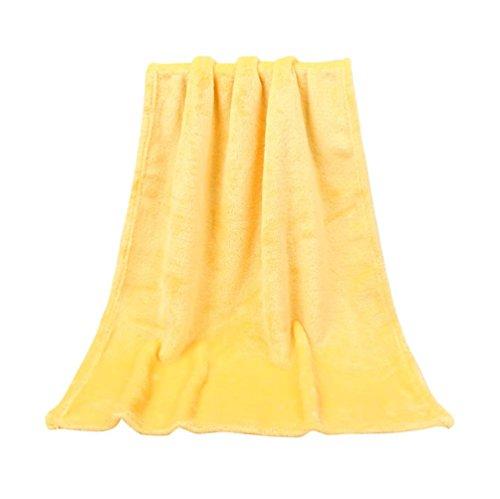 YJYdada 50X70CM Fashion Solid Soft Throw Kids Blanket Warm Coral Plaid Blankets Flannel (Yellow)