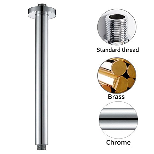 Artbath 300mm(12 Inch) Round Rain Shower Arm with Flange Ceiling Mounted Brass, Chrome