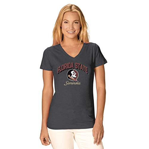 (Camp David Florida State Seminoles Womens Dedicated Fan Signature Diva V-Neck - Charcoal, Womens Medium)