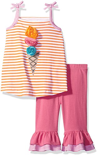 Mud Pie Baby Toddler Girls' Two Piece Pants Set Sleeveless, Ice Cream Cone, 3T (Cream Ice Cone Baby)