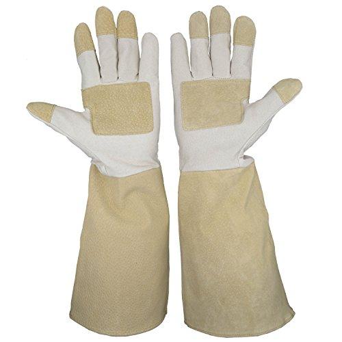 for Men & Women, Pigskin Leather Rose Gardening Gloves- Breathable & Durability Gauntlet Gloves (Long Gardening Gloves)