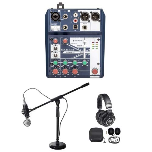 Gaming Twitch Stream Recording Bundle Soundcraft Mixer+Headphones+Mic+Boom Stand