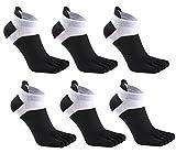 6 Pack Men No Show Toe Socks Cotton Low Cut