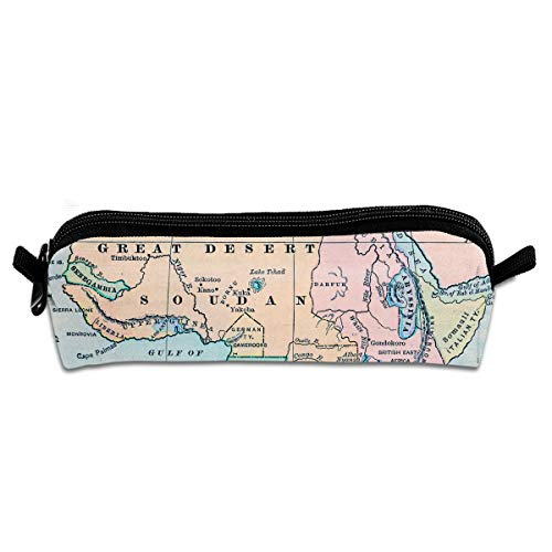 Map Oxford Storage Bags Portable Student Pencil Printing Office Stationery Bag Zipper Wallets Makeup Multi-Function Bag ()