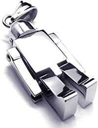 Jewelry Mens Stainless Steel Polished Pendant Gothic Robot Necklace