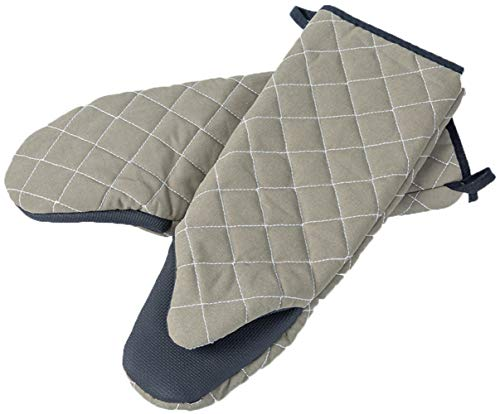 (Forbake Oven Mitts with Silicone Non-Slip Grip Kitchen Baking BBQ Mitts Heat Resistant to 500℉ with Pure Cotton infill with Soft Cloth 2 Pack BPA Free Flame Retardant)