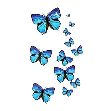 Amazoncom Oottati Small Cute Temporary Tattoo Blue Butterfly 2