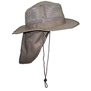 Tropic Hats Summer Comprehensive Brim Mesh Safari/Outback W/Neck Flap & Snap Up Sides - Tan XL
