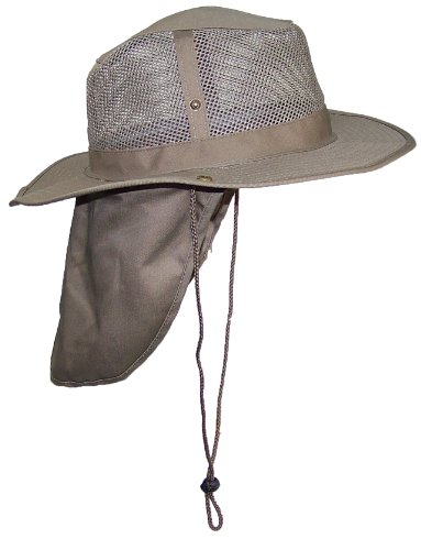 Tropic Hats Summer Wide Brim Mesh Safari/Outback W/Neck Flap & Snap Up Sides - Tan S