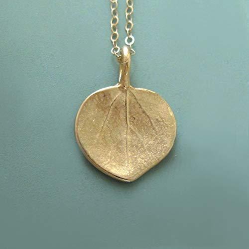 14k Gold Leaf Necklace or Pendant - Tiny Aspen Leaf