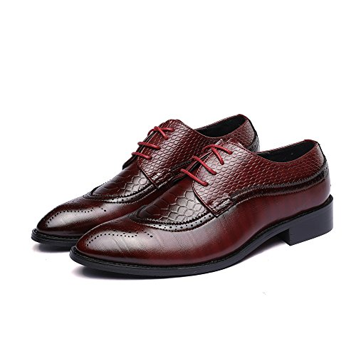 Wing Tip Wine - WULFUL Men's Leather Dress Oxfords Shoes Business Retro Gentleman Wine Red 9.5-10 D(M) US