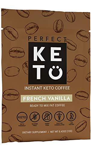 Perfect Keto Vanilla Instant Coffee: Ketogenic Fat Coffee Sugar Free Cafe Latte w Coconut Oil MCT Creamer for Ketosis on Ketone Friendly Diet. Low Carb, No Ghee Butter. Ketosis & Octane for Brain