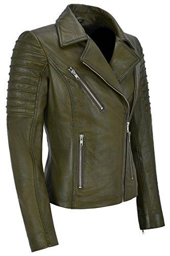 Style Mesdames Veste Green Cuir 9334 Designer Fashion En Biker Olive Soft Kunis Stylish Mila p6FqARxn