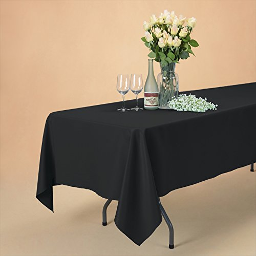 VEEYOO 60 x 102 inch Rectangular Solid Polyester Tablecloth for Wedding Restaurant Party Rectangle/Oblong/Oval Table, Black by VEEYOO (Image #3)
