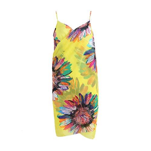 Strap Smock (Arich Women's Floral Sunblock Chiffon Straps Dress Beach-towel Bikini Cover-Up Smocks Yellow)