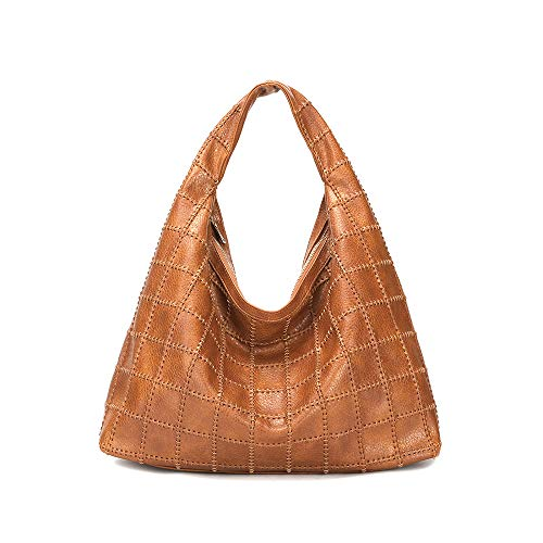 - Large capacity Handbags Hobo Purses Shoulder Bags Designer Hand-Woven Tote for Women and Ladies Faux Leather durable bag (brown)