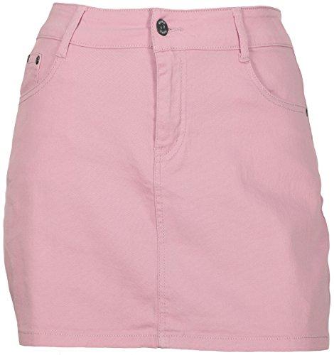 Kissnova Women's Soft Stretch Denim 5 Pocket Mini Skirts In Pastel Colors Sizes 8 To 18 (Light Pink, 16) (Pink Denim Stretch)