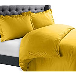 """Nestl Bedding Duvet Cover Set – Ultra Soft 100% Microfiber Hotel Collection 3 Piece Set with 2 Pillow Shams - Insert Comforter Protector, Duvet Covers with Button Closure – Queen 90""""x90"""", Yellow"""
