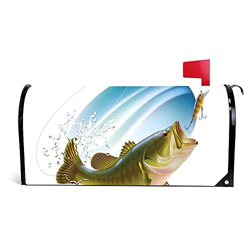 DKISEE Magnetic Mailbox Cover Largemouth Sea Bass Catching A Bite Mailbox Wraps Post Letter Box Cover 18