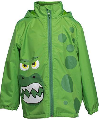 (Rainbow Daze Boys and Girls Fun Printed Waterproof Rain Coat with Hood, Size 4/5, Green)