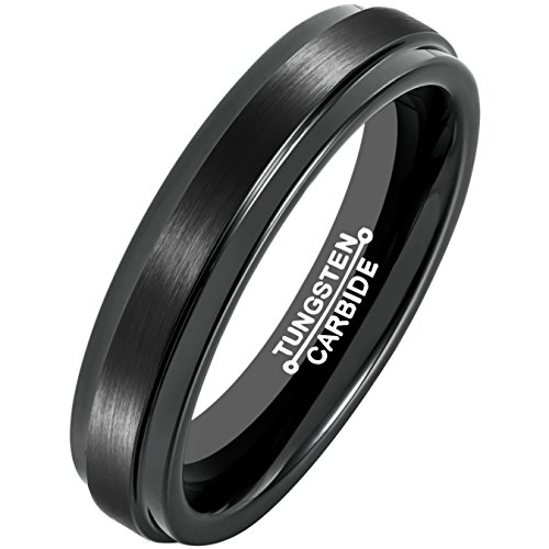 MNH Black Tungsten Carbide for Men Women Wedding Band 4mm Matte Finish (4mm Comfort Fit Ring Band)