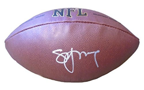 (San Francisco 49ers Steve Young Autographed Hand Signed NFL Wilson Football with Proof Photo of Signing, Tampa Bay Buccaneers, BYU Brigham Young University Cougars, COA)