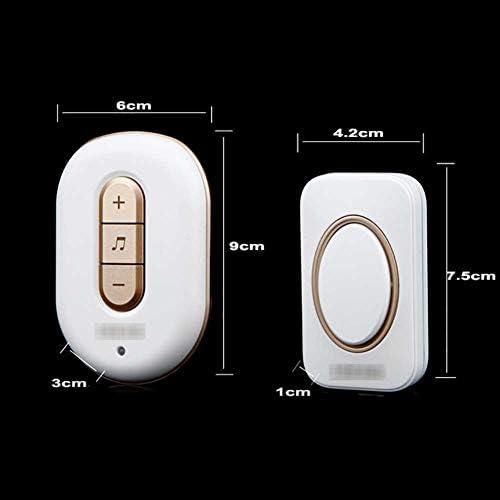 ウォールプラグインコードレスドアチャイム、IP44防水ドアベルキット、900フィートの範囲48チャイム6レベルボリューム(1つのプッシュボタンと5つのレシーバー),2