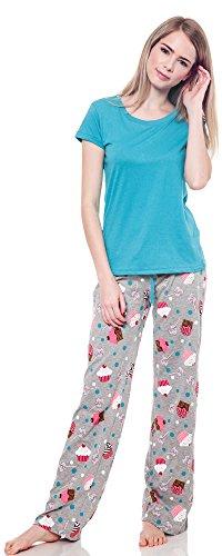 Joe Boxer Womens 2 pc Pajama Sleep Lounge Set Cupcake Candy Print (Turquoise, Medium)