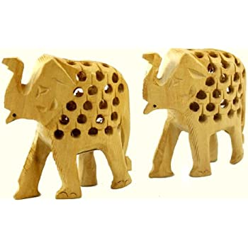 """6 1//2""""T By 8 1//2"""" W Elephant Hand Carved From Iron Wood With Excellent Details"""