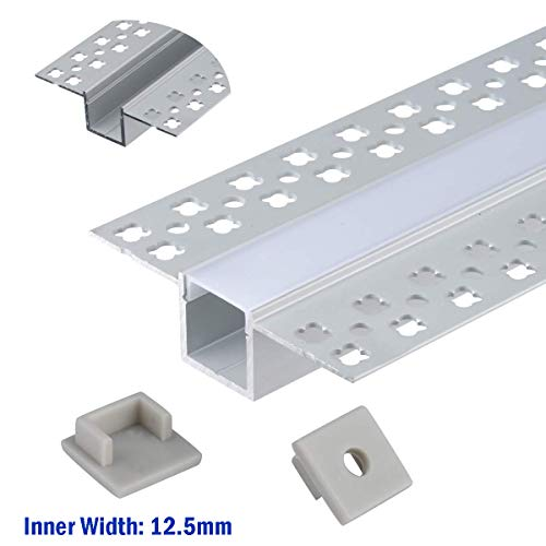 Plaster-in Trimless LED Aluminum Channel 4-Pack 1m/3.3ft with Flange for LED Strip Installation, Drywall Aluminum Profile with Clip-in Diffuser and End Caps