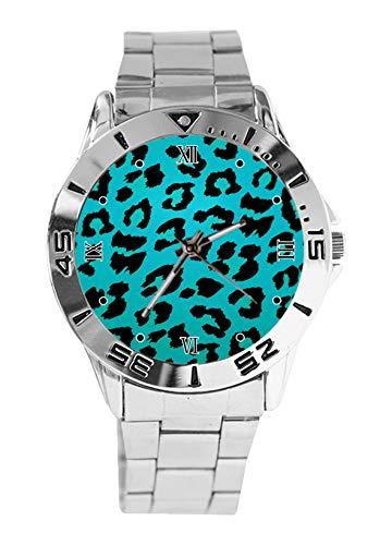 - Pink Animal Print Snow Leopard Background Design Analog Wrist Watch Quartz Silver Dial Classic Stainless Steel Band Women's Men's Watch