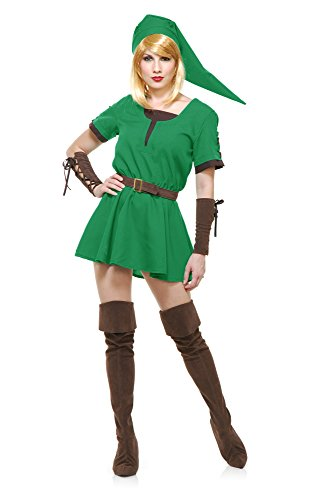 Charades Women's Elf Warrior Princess Costume, as Shown,