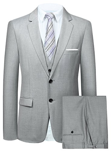 Men's Suit 3 Piece Busines Classic Solid Regular Fit Blazer Coat Vest Pants Set(Gray,50)