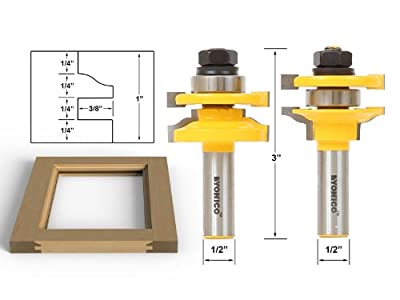 Yonico 12243 Rail and Stile Router Bits with Matched 2 Bit Standard Ogee 1/2-Inch Shank from Precision Bits.com