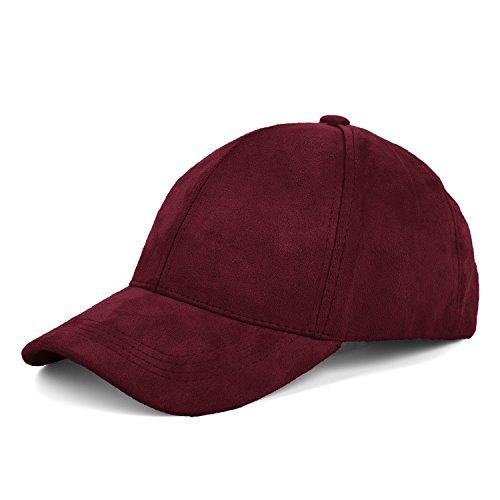 JOOWEN 6 Panel Faux Suede Baseball Cap Classic Adjustable Soft Plain Hat (Wine Red) (Adjustable Ladies Hat Red)