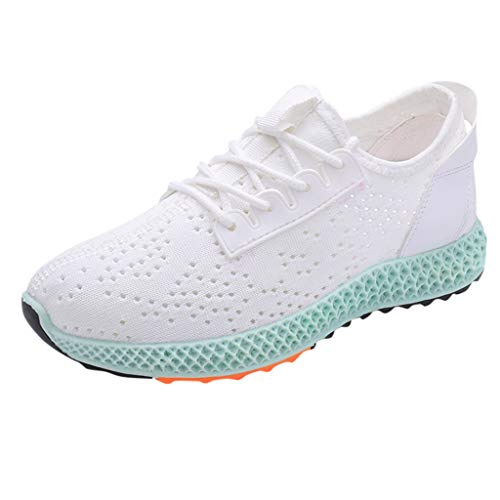 SUNyongsh Women's Ladies Sneakers Girls Mixedcolor Running Sneakers Sport Round Toe Casual Shoes White ()